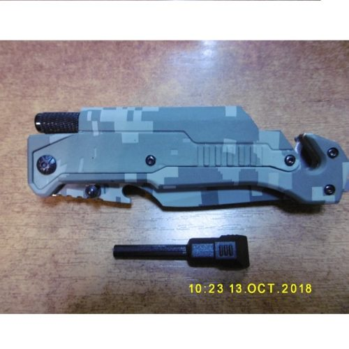 Scyzoryk Nóż Surwiwalowy Camo 3w1 , latarka , krzesiwo