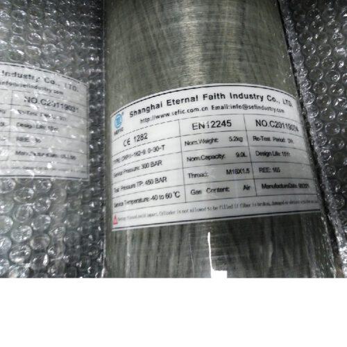 Butla PCP Carbon 9 litrów 300 bar ze standardowym zaworem